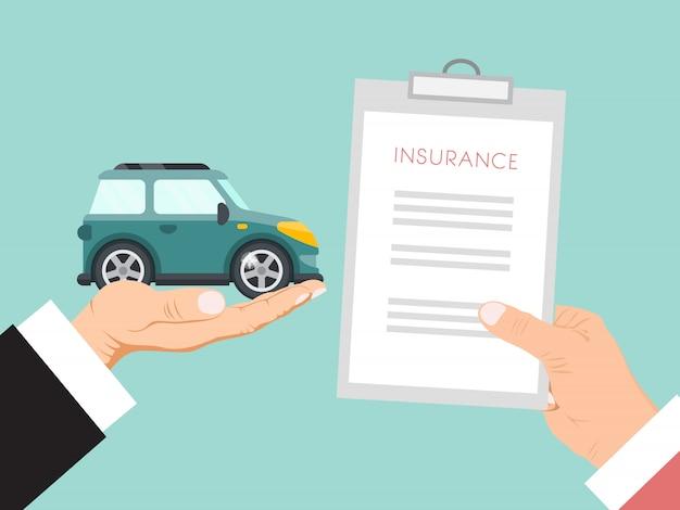Договор страхования автомобилей векторные иллюстрации. руки держат страховой полис и машину. договор страхования автомобиля для семьи Premium векторы