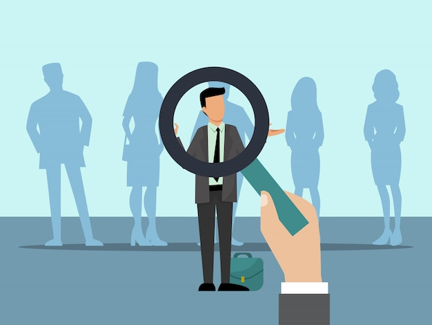 雇用者は拡大鏡で候補者を選択します。人々のグループと最高の従業員の選択。ビジネス従業員募集ベクトルイラスト。 Premiumベクター