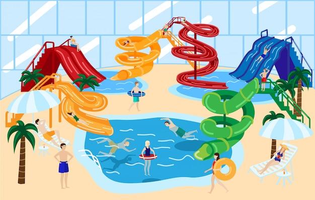 ウォーターパークのウォータースライドとスイミングプールで楽しい人々とウォーターパークスライド。アクアパークの遊園地。 Premiumベクター