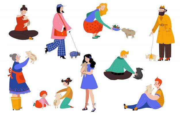 Люди животное свинья владелец иллюстрации, мультфильм плоская счастливая женщина мужчина характер веселиться с свиньей, любовь, обнять поросенок набор на белом Premium векторы