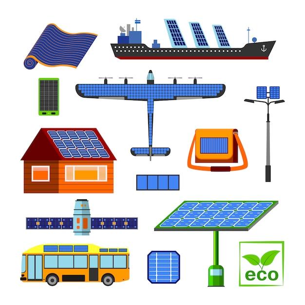 太陽エネルギー要素セット。 Premiumベクター