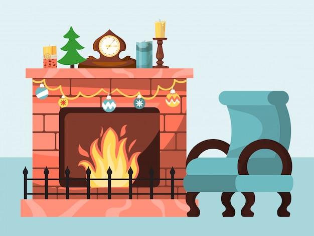Праздничная атмосфера, рождественское зимнее настроение горящим огнем в камине, плоская иллюстрация дизайна, изолированная на белом. Premium векторы