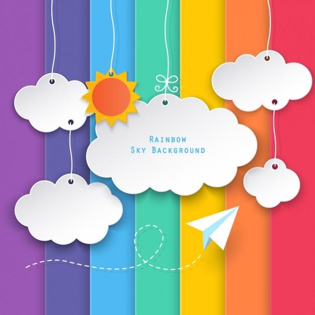 Облака на фоне цветных полос Бесплатные векторы