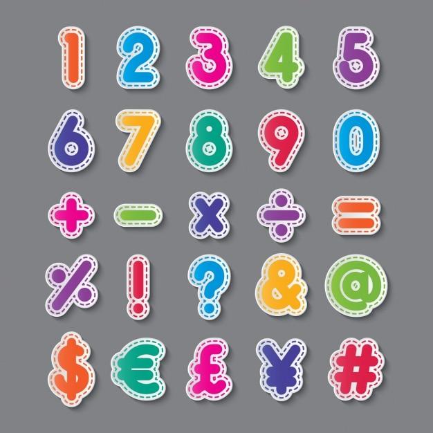 色の数字と記号 無料ベクター