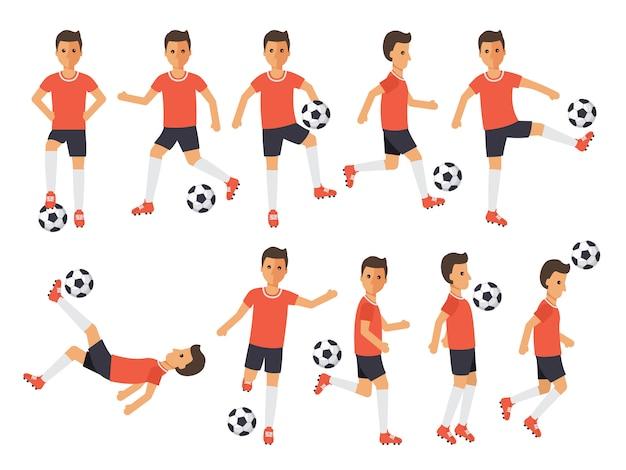 サッカー選手、アクションのフットボールスポーツ選手。 Premiumベクター
