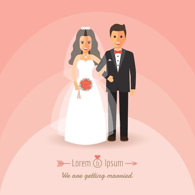 新郎と新婦の結婚式の日に。 Premiumベクター
