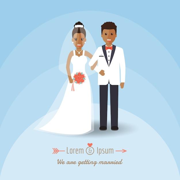 結婚式の日にアフリカの新郎と新婦のカップル。 Premiumベクター