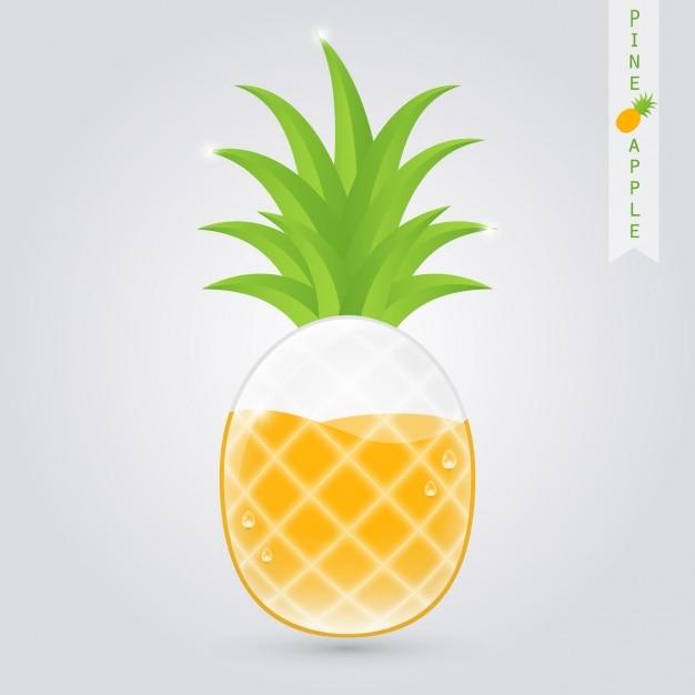 内部のパイナップルとパイナップルジュースのグラス 無料ベクター