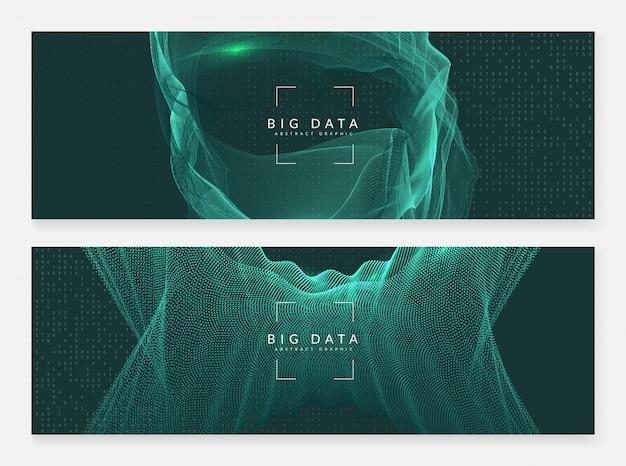 Большой фон баннера данных. цифровая технология аннотация Premium векторы