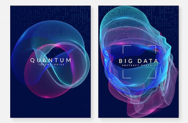 Большой фон данных. технологии визуализации, искусственные в Premium векторы