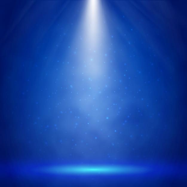 スポットライト付きのブルーステージ照明 Premiumベクター
