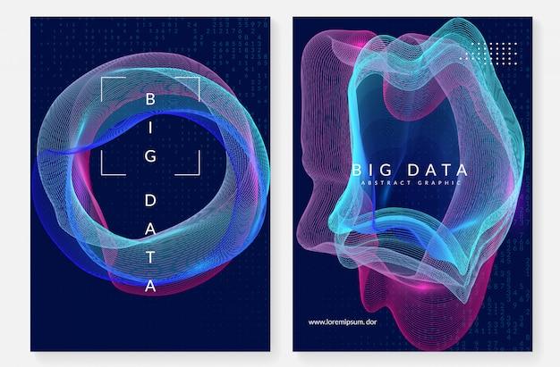 Квантовые вычисления дизайн обложки. технология для больших данных Premium векторы
