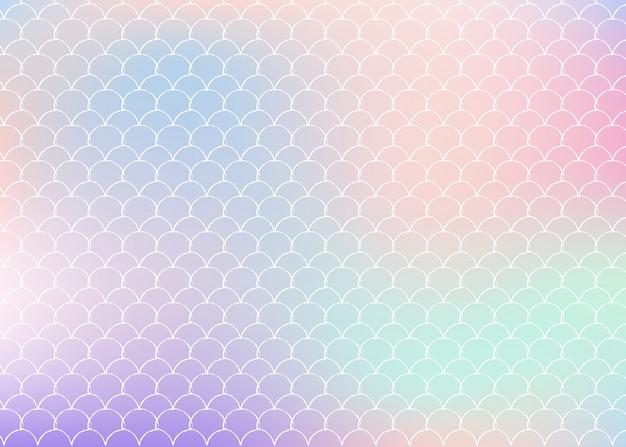 Градиентный фон русалки с голографическими шкалами. Premium векторы
