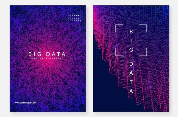Большой дизайн обложки данных. технологии для визуализации Premium векторы