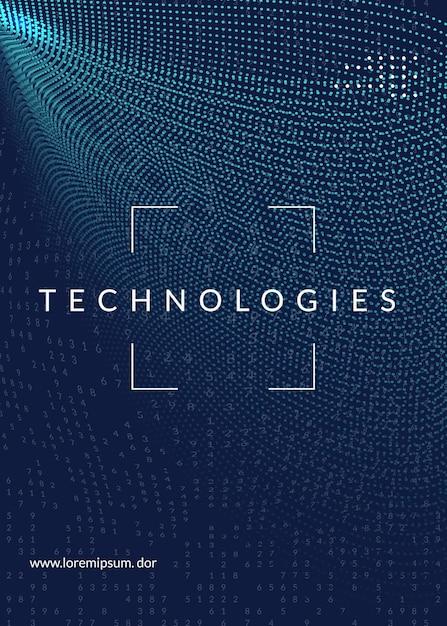 Технологический дизайн обложки для больших данных Premium векторы