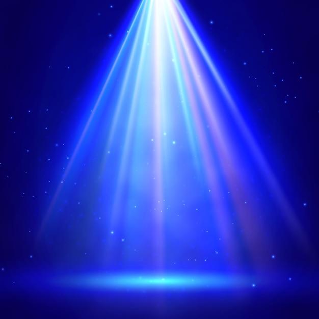 スポットライトの背景を持つブルーステージ照明 Premiumベクター