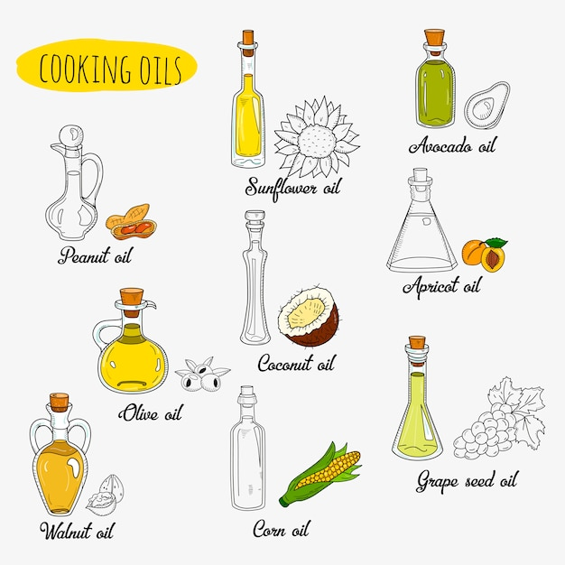 Изолированные каракули растительные масла. смешанный цвет и контур Premium векторы