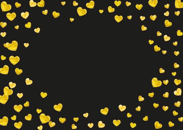 Фон рамки сердца с золотым блеском сердца. Premium векторы