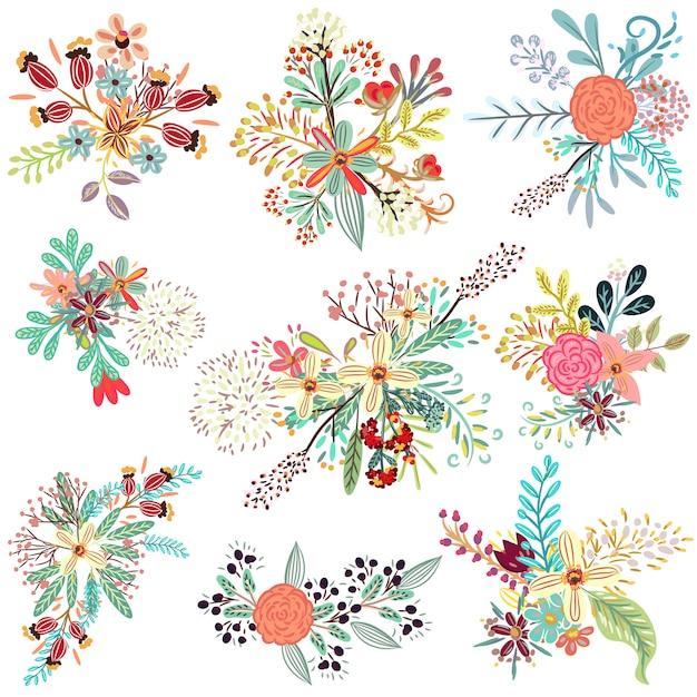 Коллекция цветочных деревенских цветов Бесплатные векторы