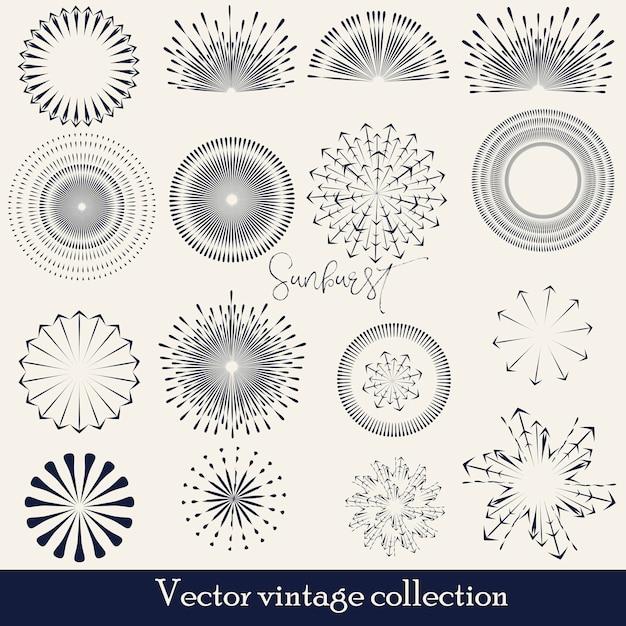 手描きサンバースト、ビンテージラジアルバースト、抽象的なラインサンシャインベクトルコレクション 無料ベクター