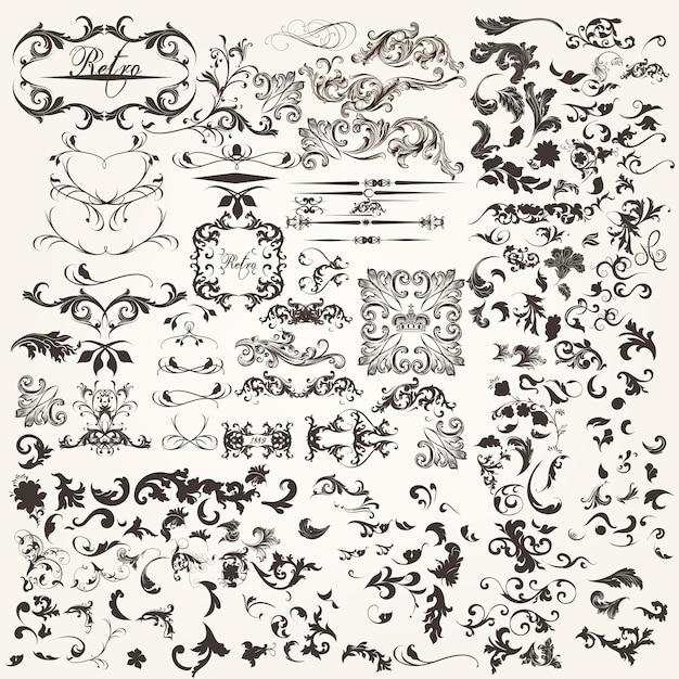 Набор каллиграфических элементов Бесплатные векторы