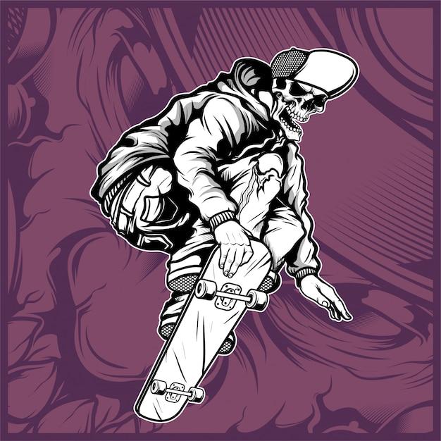 スカルスケートボードの手描き Premiumベクター