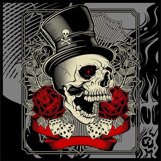 帽子とサイコロのバラの装飾を着た頭蓋骨- Premiumベクター