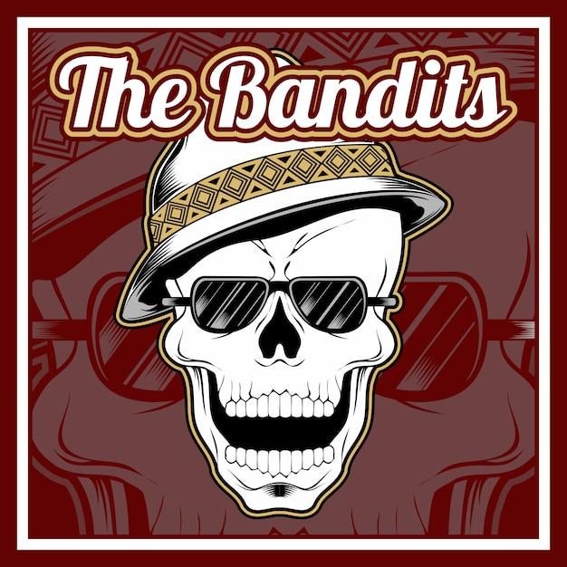 Череп бандитов в кепке Premium векторы