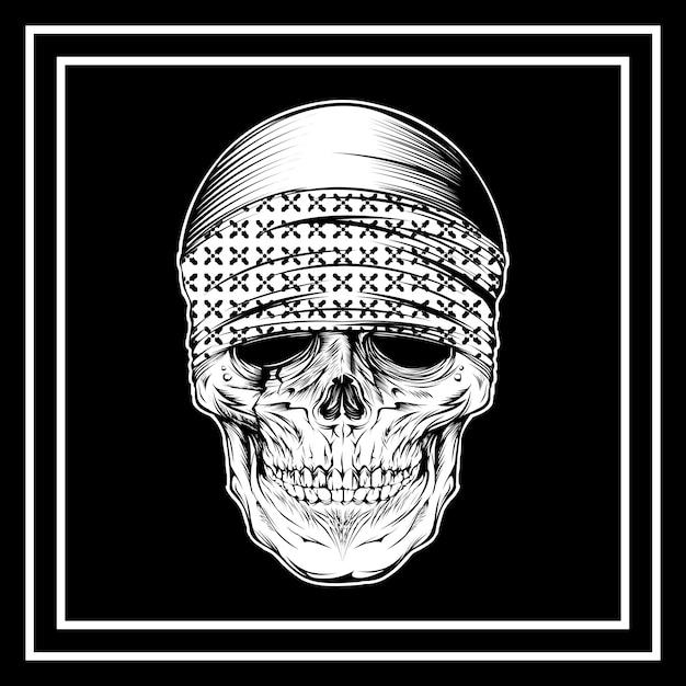 頭蓋骨身に着けているバンダナの手描き Premiumベクター