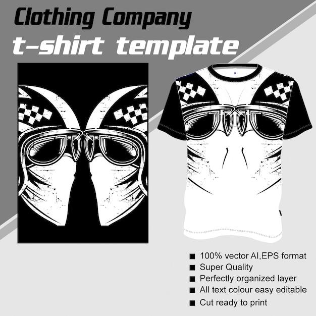 Одежда компании, шаблон футболки, череп в ретро шлеме Premium векторы