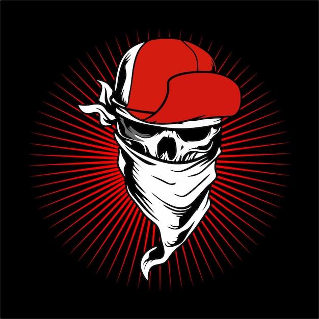頭蓋骨を被った帽子とバンダナ。 Premiumベクター