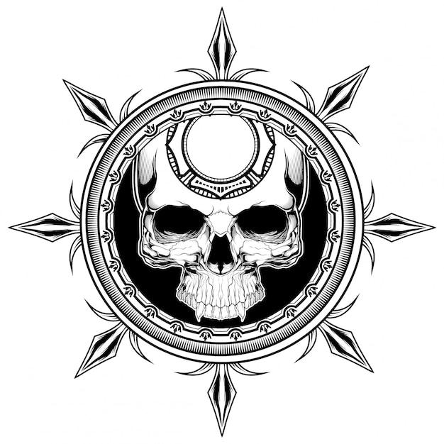 Иллюстрация щита черепа Premium векторы