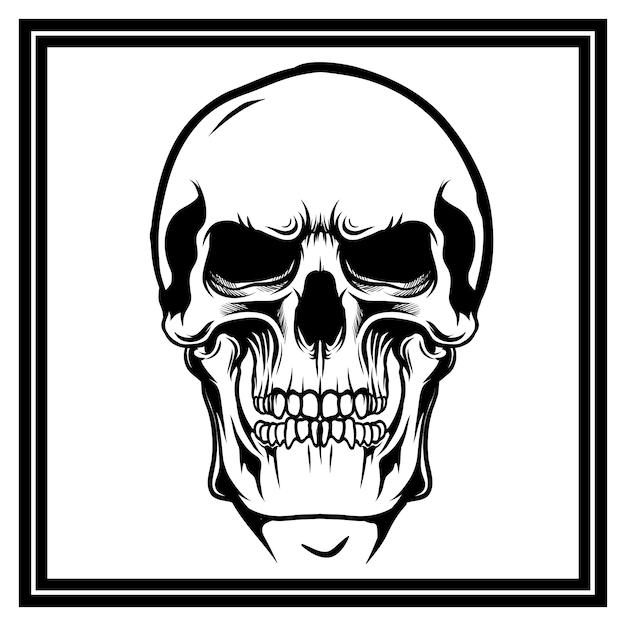 手描きの頭蓋骨 Premiumベクター