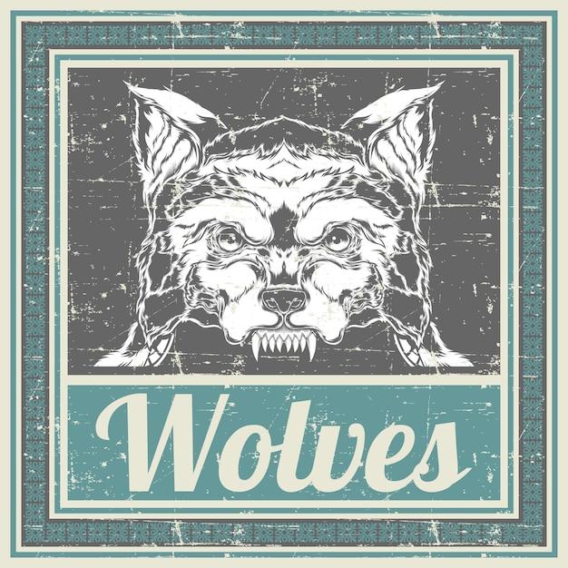 グランジスタイルのオオカミの手描きのベクトル Premiumベクター