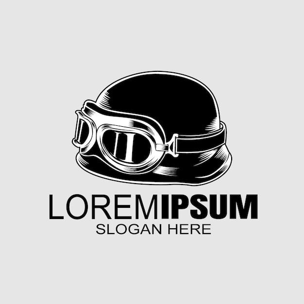 バイカーのヘルメットのロゴのテンプレート。 Premiumベクター