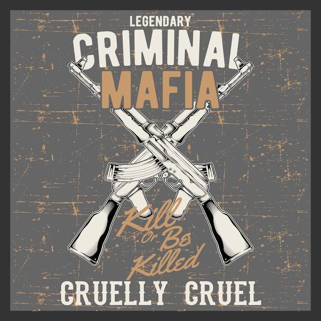 自動銃、アサルトライフルとビンテージ銃ショップサイン、分離された銃ストアエンブレムとグランジスタイルのビンテージロゴ刑事マフィア Premiumベクター