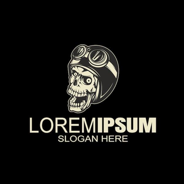 Урожай логотип черепа шлем, рука рисунок Premium векторы