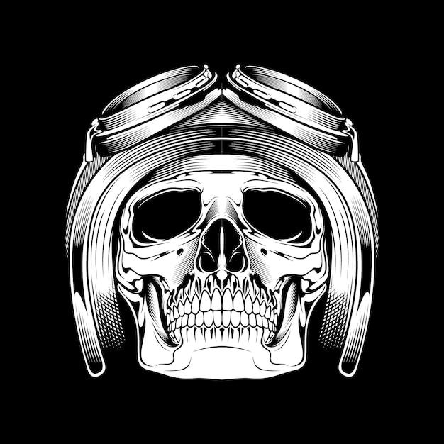 Череп в шлеме и гугл-кросс. рука рисунок. Premium векторы