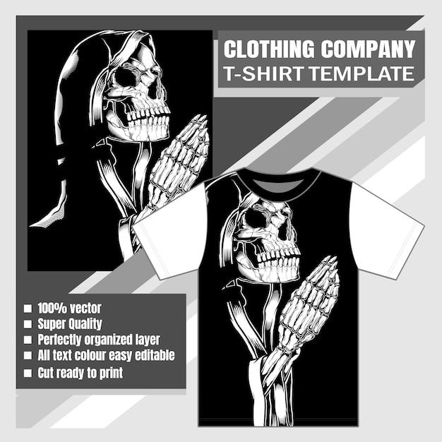 Макет одежды компании футболки дизайн черепа женщины молятся Premium векторы