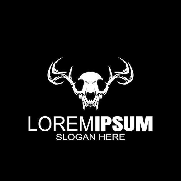Череп с перекрещенными костями креативный логотип Premium векторы
