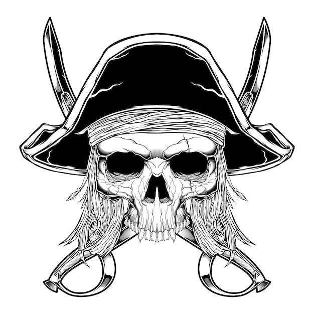 分離されたビンテージスタイルスカル海賊 Premiumベクター