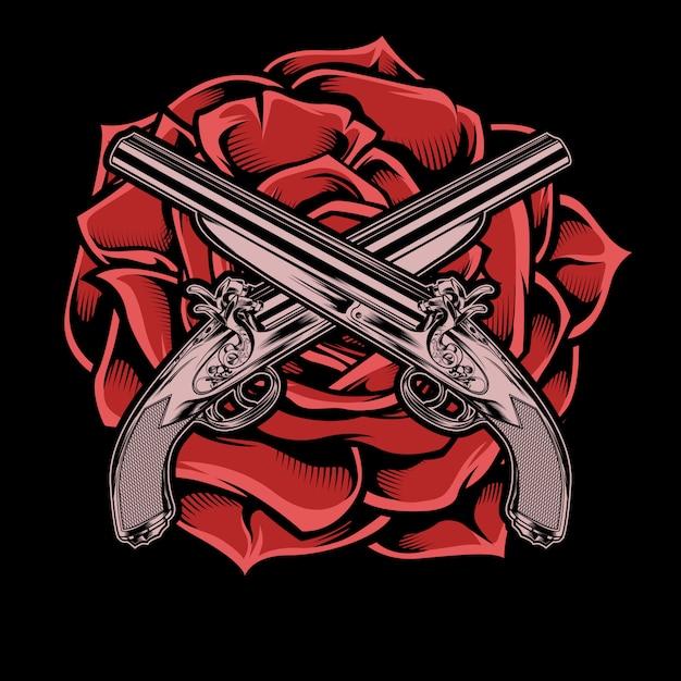 Изолированный пистолет и розовая рука рисунок, Premium векторы