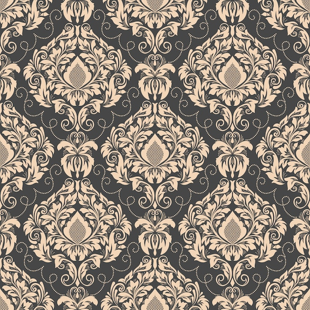 ダマスク織のシームレスなパターン背景。古典的な高級昔ながらのダマスク織飾り 無料ベクター