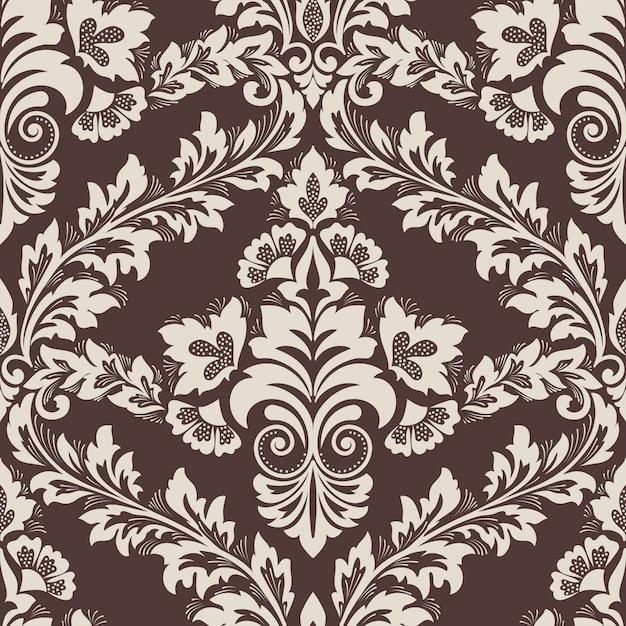 ダマスク織のシームレスなパターン要素。古典的な高級昔ながらのダマスク織飾り 無料ベクター