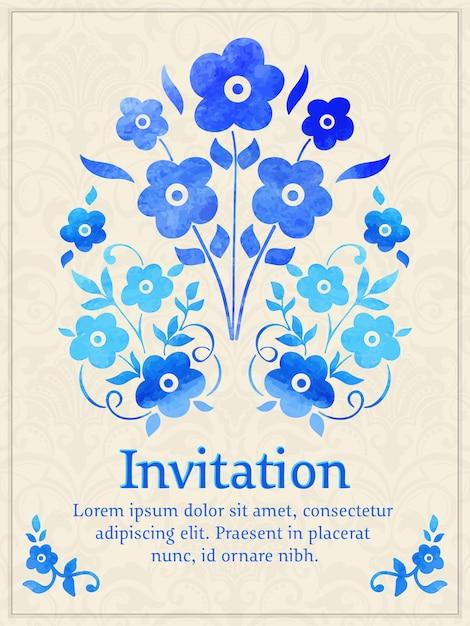 光のダマスク織の背景に水彩花柄要素を持つ招待状。 無料ベクター