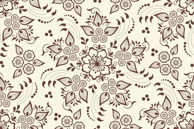 Цветочный узор бесшовные в арабском стиле. арабески восточный этнический орнамент. Бесплатные векторы