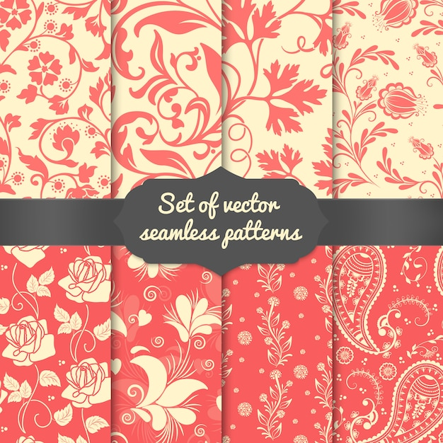 花のシームレスなパターン要素のセットです。壁紙のためのエレガントで豪華な質感 無料ベクター