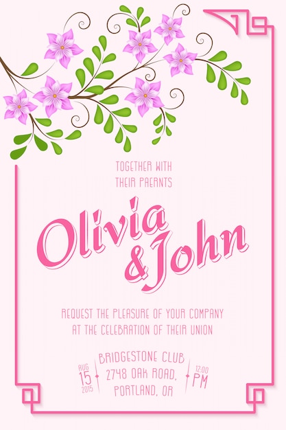 結婚式の招待状。背景に花柄の要素を持つ招待状 無料ベクター