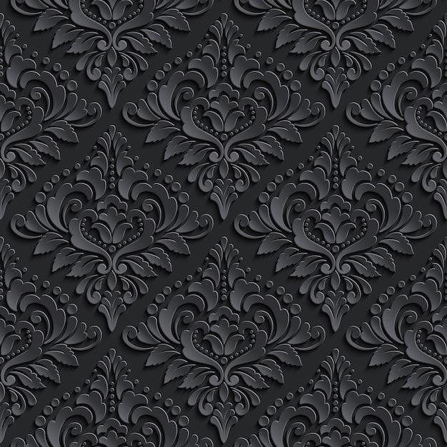 Темный дамасской бесшовный фон фон. элегантная роскошная текстура для обоев Бесплатные векторы