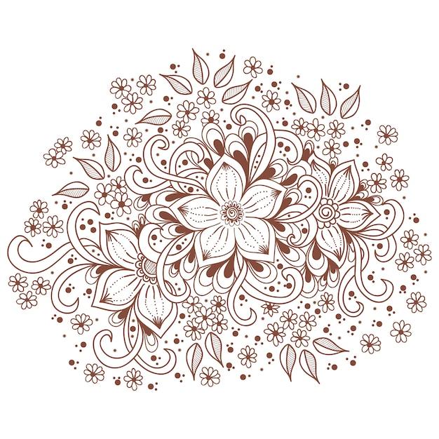 Иллюстрация менди орнамента. традиционный индийский стиль, декоративные цветочные элементы Бесплатные векторы